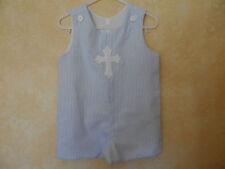 Boy's Seersucker Jon Jon Romper Suit Easter Cross  Personalized Size 12 mo. - 3T