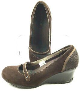 Merrell-Petunia-Mary-Jane-Pump-Womens-Size-8-Brown-Suede-Slip-On-Wedge-Heel-Shoe
