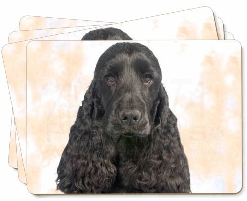 Black Cocker Spaniel Dog Picture Placemats in Gift Box, ADSC20P