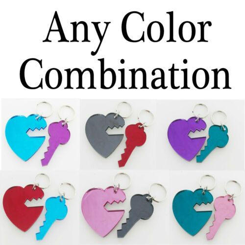 Personalized Couple Keychain Heart and Key Matching Custom Names Free Engraving