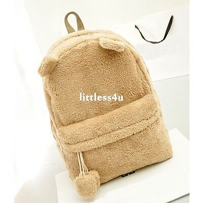 Girls Fluffy School Bag Backpack Rucksack Travel Zip College Shoulder GYM Khaki