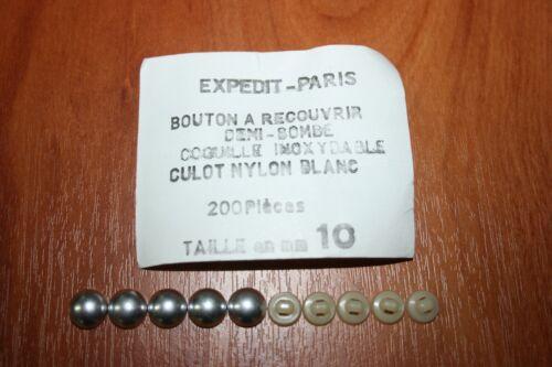 5 Boutons a Recouvrir de Tissu Ø 10mm Forme Bombé Coquille Aluminium Culot Nylon