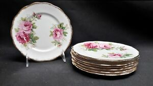Royal-Albert-England-Bone-China-American-Beauty-Set-of-8-Bread-amp-Butter-Plates