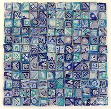 KER-AV Feinsteinzeug Mosaikfliese L152 Argento Aurora Blau mit Glitzer 30x30cm