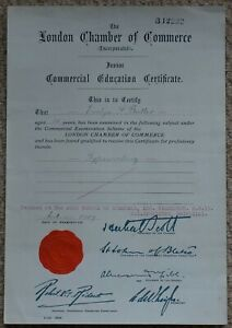 London Chamber of Commerce Junior Education Certificate for Typewriting 1929