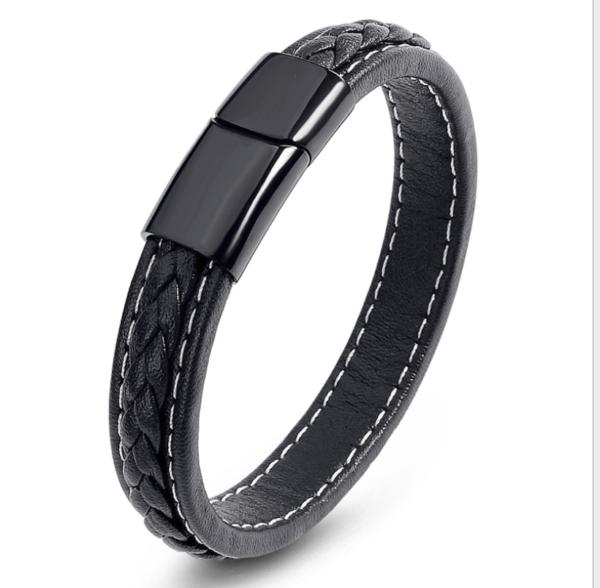 Véritable Bracelet en cuir hommes hommes avec magnetverschluß tressés noir z4