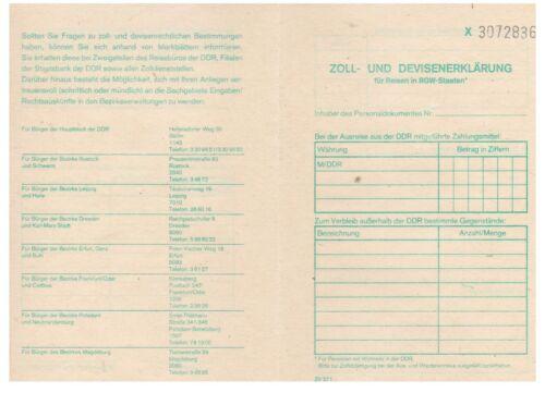 DDR Zoll und Devisenerklärung für Reisen in RGW-Staaten