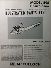 Mcculloch Chain Saw 895 600135 Sn 11 Parts Manual 2 Cycle Gasoline Chainsaw 1969