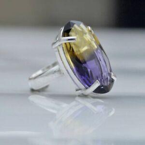Purple Yellow Ametrine Quartz 925 Sterling Silver Artisan Handmade Gift Ring