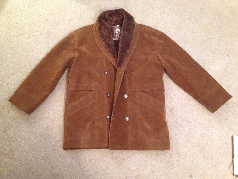 Herren Large Shearling Coat, Italian Textile Group, Braun