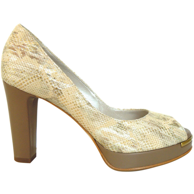 shopping online di moda Gilda Tonelli Tonelli Tonelli Made in  snake pattern beige leather Pumps peep toe  380 39  basso prezzo del 40%
