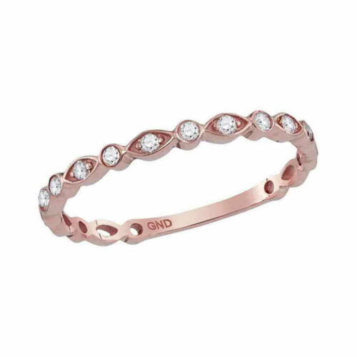 14kt Rose Gold Womens Round Diamond Vintage Stackable Band Ring 1//8 Cttw