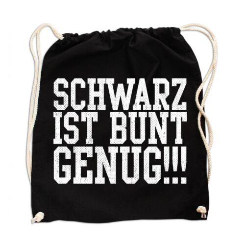Rucksack GYM Bag Turnbeutel Leinentasche Schwarz ist bunt genug gothic black met