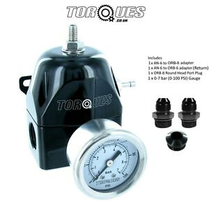 Torques-AN-6-6AN-EFI-Adjustable-Fuel-Pressure-Regulator-30-70-PSI-Gauge-BLACK