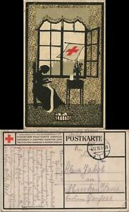 Ansichtskarte  Schattenschitt . Rotes Kreuz Künstlerkarte 1915  gel. Feldpost