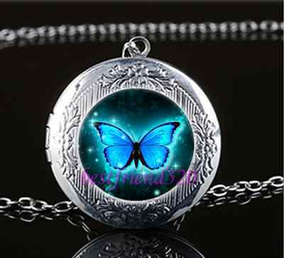 Blue Butterfly Photo Cabochon Glass Silver Chain Pendant Necklace Unisex Nice
