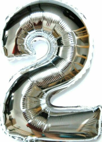 XXL 100cm Riesen Silber Hochzeit Helium Zahl 2 Folienballon Party Deko Geschenk