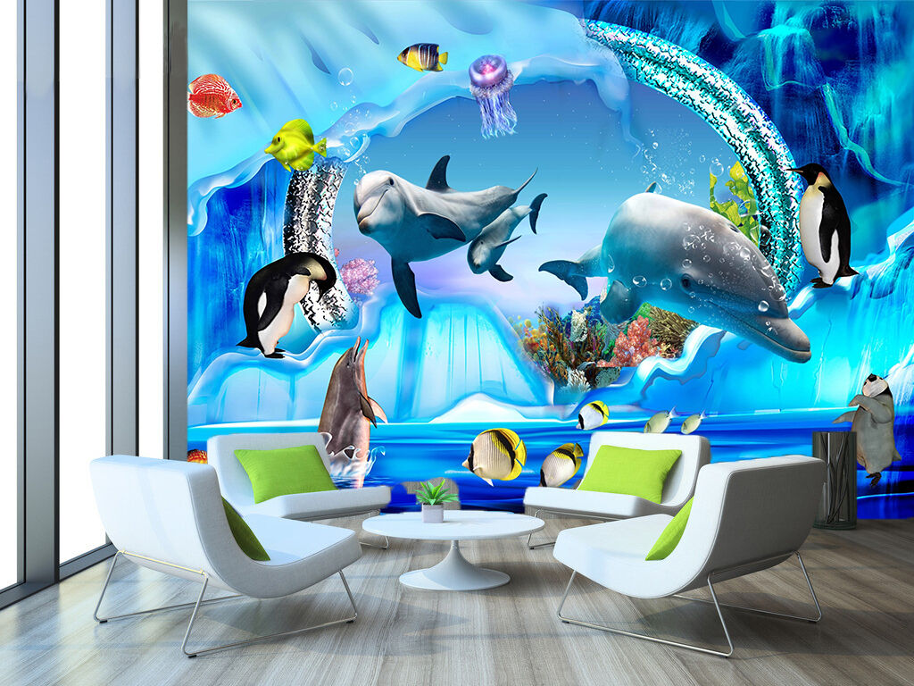 3D Swimming Dolphin 92 Wall Paper Decal Dercor Home Kids Nursery Mural  Home
