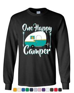 One Happy Camper Long Sleeve T-Shirt Camping Roadtrip RV Trailer Tee