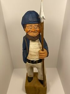 18-Sailor-Fisherman-w-Spear-Carved-Wood-Figurine-Folk-Art-Hand-Paint-Nautical