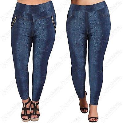 Gewidmet New Plus Size Ladies Denim Print Jeggings Womens Stretch Fit Blue Leggings Pants