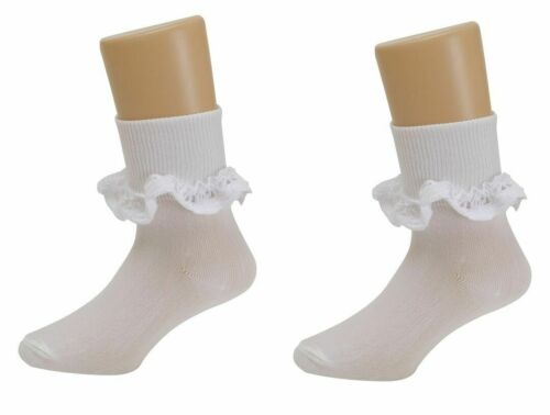 3 Pairs Girls Lace Frill Socks Ankle Kids Childrens Top Cotton Baby School