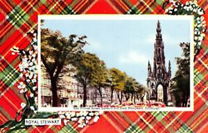 Vintage-Postcard-Edinburgh-Princess-St-Scott-Monument-Royal-Stewart-Tartan-14X