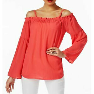 INC-International-Concepts-NEW-Off-The-Shoulder-Peasant-Top-Coral-Large