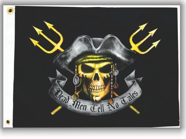"12x18 Dead Men Tell No Tales Pirate Flag 12/""X18/"" 2 SIDED NYLON BOAT Flag"