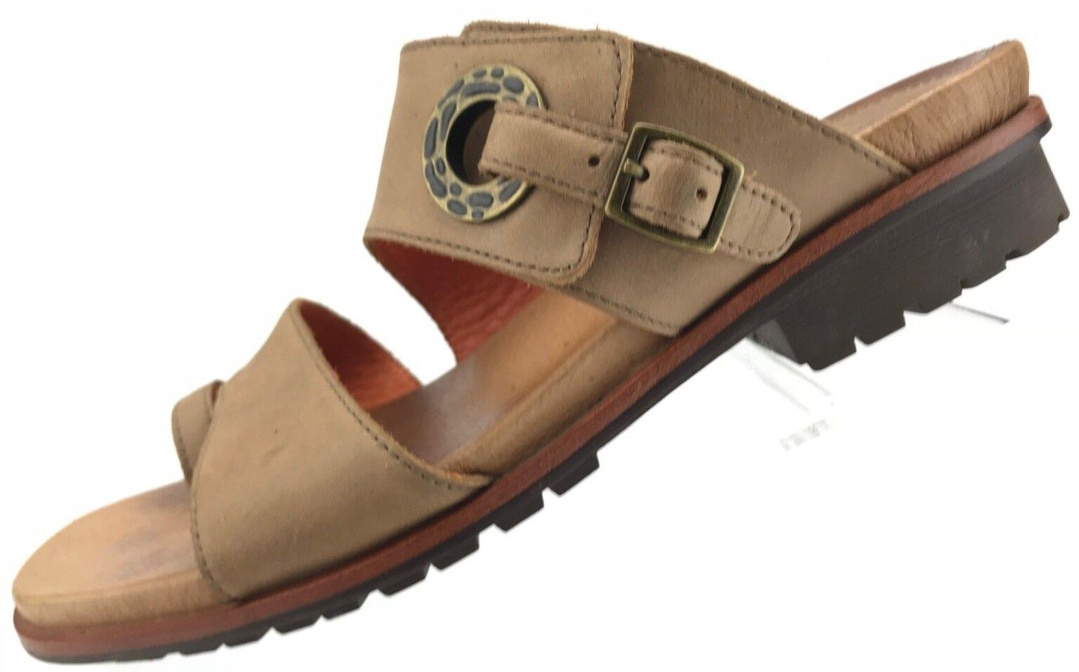 Ariat Sandals - Kailey Buff Slide Footbed Toe Ring Leather shoes Womens 7B Beige