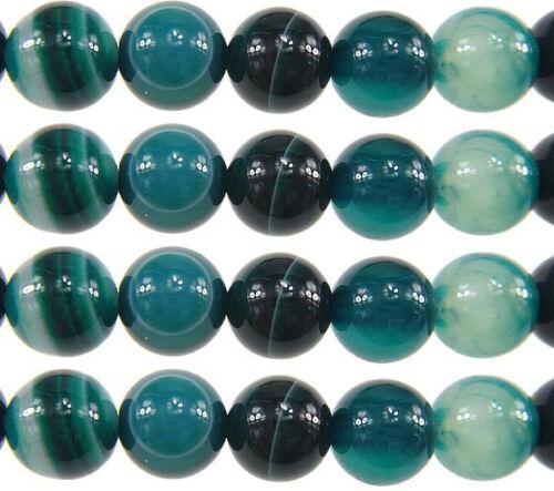 Edelsteine 6-8mm Natürliche Streifen Achat Perlen Rund Indische Sapphire Blau