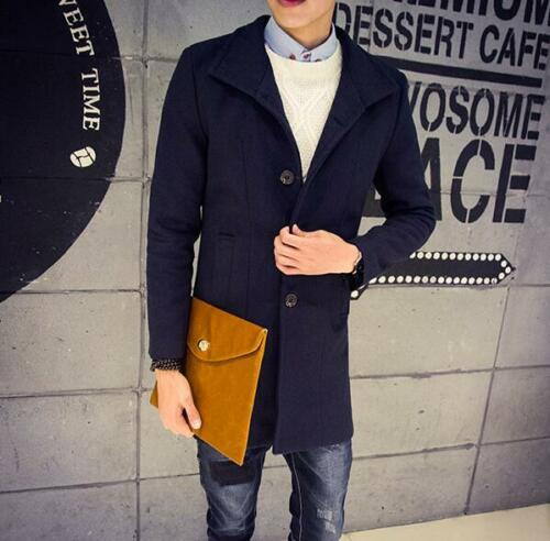 Fashion Men/'s Wool Blend Single Breasted Long Trench Coat Outwear Vintage Chic**