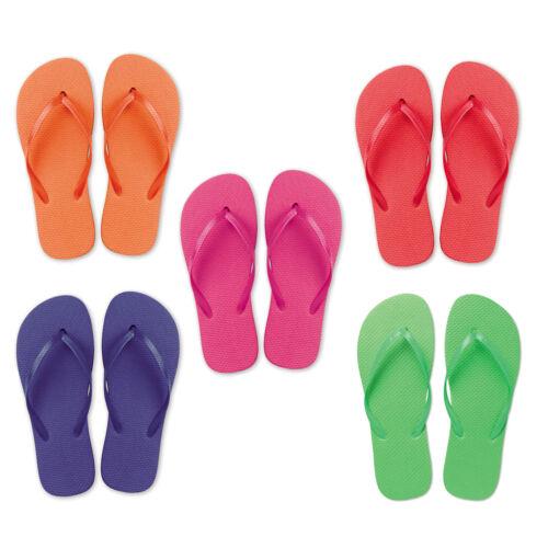 New Ladies Beach Flip Flops Summer Sandals Bright Foam 2 Sizes M or L