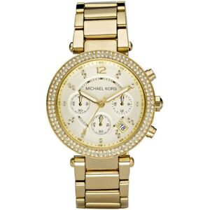 Michael Kors MK5354 Parker Gold Tone Chronograph Crystal Pave Wrist Watch