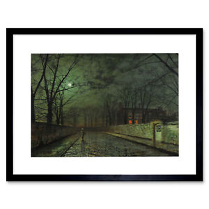 Grimshaw-Moonlit-Street-Painting-Framed-Art-Print-Picture-Mount-12x16-Inch