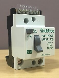 Details about Crabtree SB6000 63A Double Pole 2 Pole DP 63 Amp RCD/RCCB  30mA Trip ~ 526/030