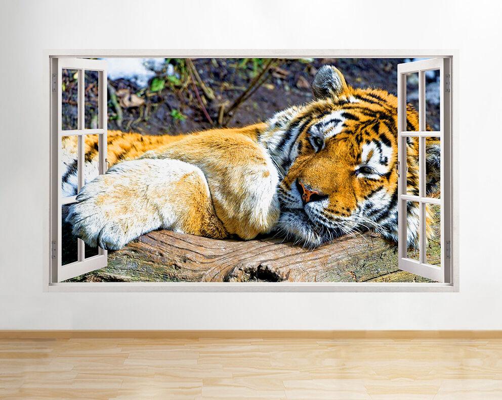 Q281w Tigre Animale COOL KID CAMERA FINESTRA MURO Decalcomania Decalcomania Decalcomania 3D Arte Adesivi In Vinile Sala b10c50