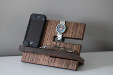 Mens Wood Tray Valet Jewelry Box  Storage Dresser Nightstand Organizer Phone