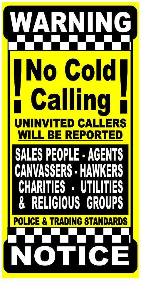 Stop Cold Calling No Callers Religious Groups Sales Rep Sticker door sign 14x8cm