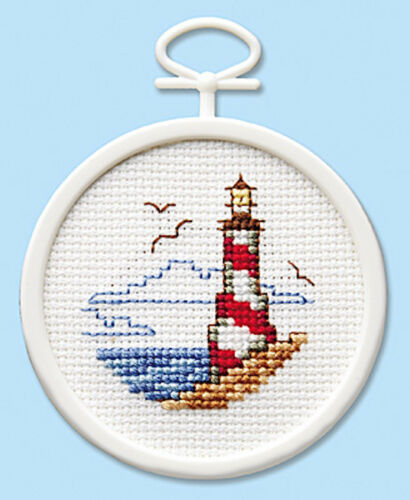 Cross Stitch Mini Kit ~ Janlynn Coastline Lighthouse w//Frame #998-5034 SALE!