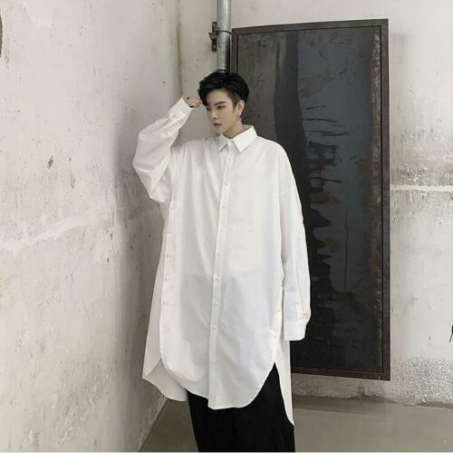 Mens Fashion Punk Gothic Long Sleeve Oversize Shirt Youth Casual Loose Long Tops
