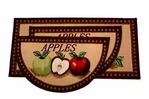 Details about MIXED APPLES 3 PIECE KITCHEN RUG SET, NON SKID BACK