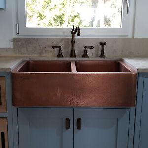 Details About Copper Farmhouse Sink Front A Hammered Double Bowl Antique Kitchen