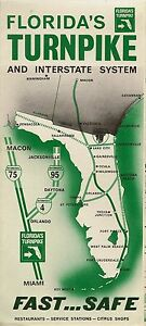 Map Of Florida Turnpike.Official 1968 Florida S Turnpike Road Map Miami To Wildwood I 75