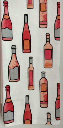 Kitchen Dish Towels Set 2 Rose Wine Pink Gray Linen Cooking Chef Home Gift