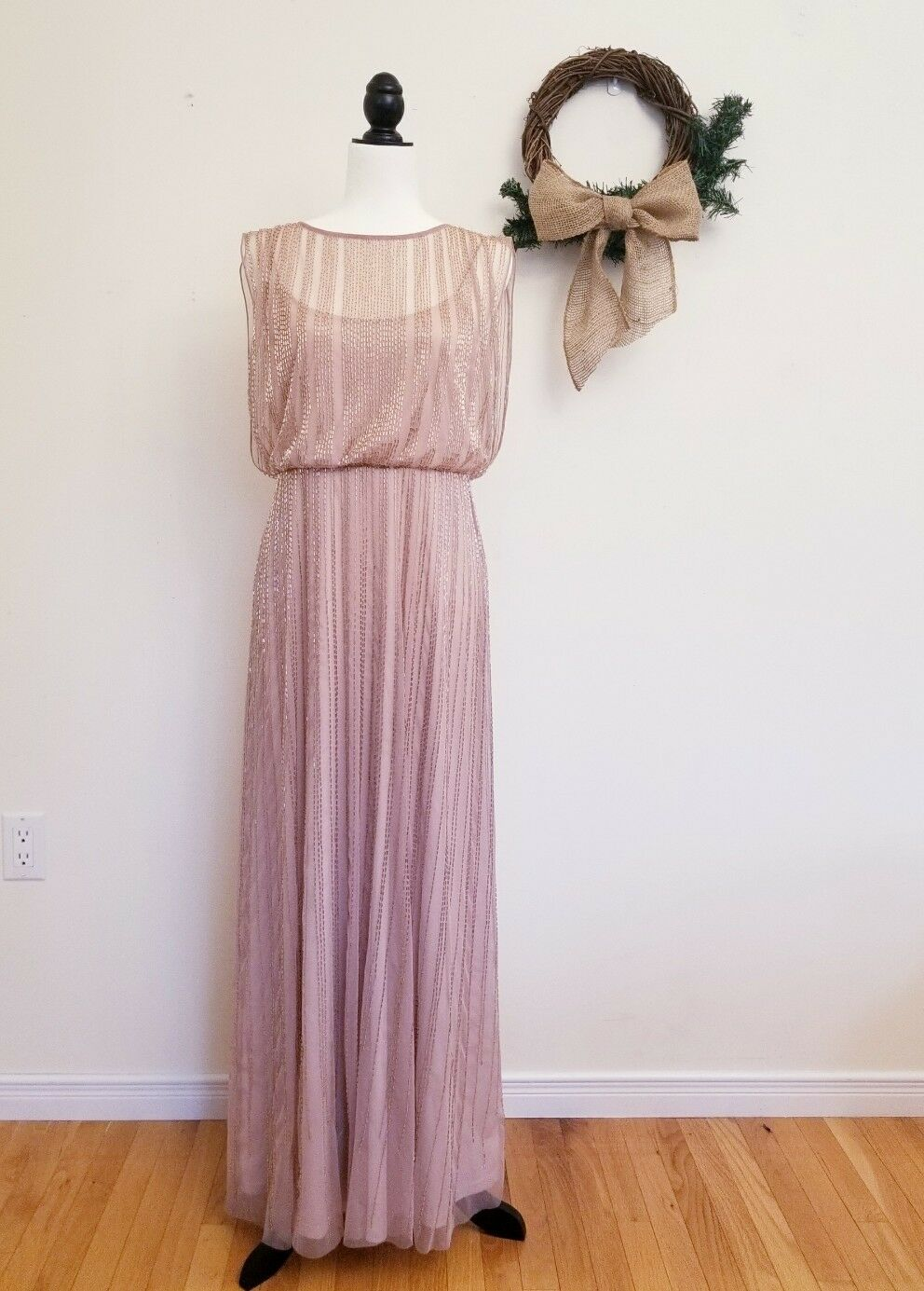 Adrianna Papell Beaded Boat Neck Cap Sleeve Blouson Gown 12P