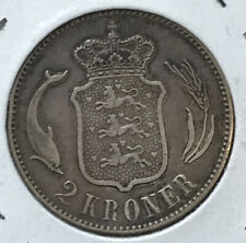 ???? 1875 Denmark 2 Kroner, .800 Silver, Christian IX, 1st Year, Free Shipping