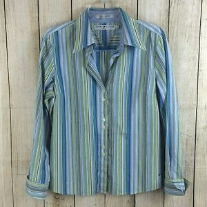 0d881f19 Tommy Hilfiger Women's Shirt Size L Button Down Blues/Greens Striped ...