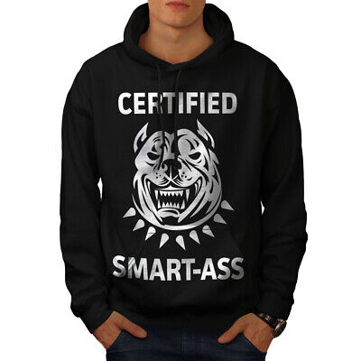 Hell Wellcoda Smartass Bulldog Mens Hoodie, Pitbull Casual Hooded Sweatshirt Reisen