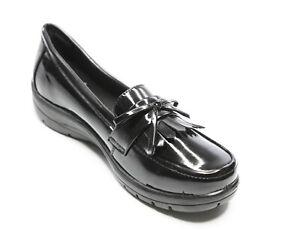 Ladies Shoes Slip on Black Patent Wedge